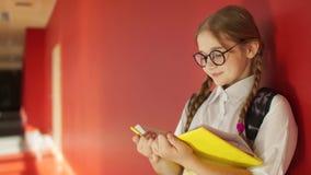Muchacha con las coletas que lee un libro de texto en el vestíbulo de la escuela De nuevo a escuela, preparación del examen, días almacen de video