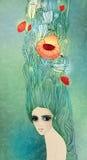 Muchacha con las flores en su pelo Foto de archivo