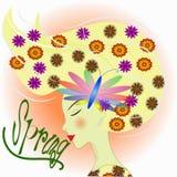Muchacha con las flores Primavera del texto Fotografía de archivo