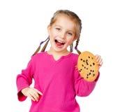 Muchacha con las galletas de la viruta Imagenes de archivo
