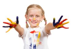 Muchacha con las manos pintadas Fotografía de archivo libre de regalías