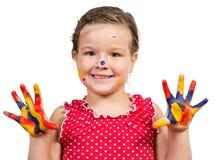 Muchacha con las manos pintadas Imagen de archivo libre de regalías