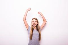 Muchacha con las manos rised para el gesto de la victoria Foto de archivo libre de regalías