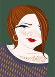 Muchacha con las pecas stock de ilustración
