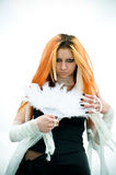 Muchacha con las plumas Fotografía de archivo libre de regalías