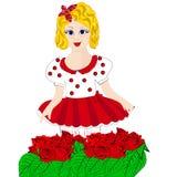 Muchacha con las rosas florecientes Fotos de archivo