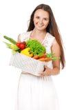 Muchacha con las verduras Fotografía de archivo libre de regalías