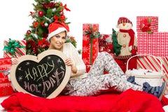 Muchacha con los accesorios de la Navidad Fotos de archivo libres de regalías