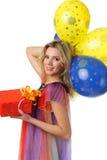 Muchacha con los actuales y coloridos globos Fotografía de archivo