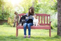 Muchacha con los animales domésticos en parque Imágenes de archivo libres de regalías