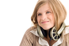 Muchacha con los auriculares Fotografía de archivo libre de regalías