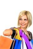 Muchacha con los bolsos Fotografía de archivo libre de regalías