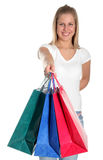 Muchacha con los bolsos de compras Fotografía de archivo