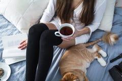 Muchacha con los calcetines calientes con una taza de té, gato, cierre el libro Fotografía de archivo libre de regalías
