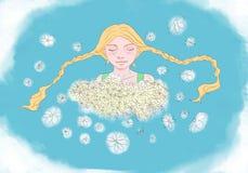 Muchacha con los camomiles Imagen de archivo