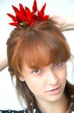 Muchacha con los chiles Imagen de archivo libre de regalías