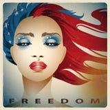Muchacha con los colores de la bandera de Estados Unidos stock de ilustración