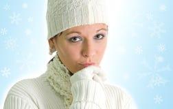 Muchacha con los copos de nieve Fotos de archivo libres de regalías