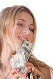 Muchacha con los dólares Fotos de archivo libres de regalías