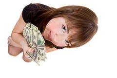 Muchacha con los dólares Imagen de archivo libre de regalías