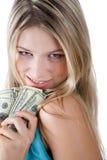 Muchacha con los dólares Imágenes de archivo libres de regalías