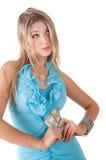 Muchacha con los dólares Fotografía de archivo