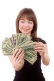 Muchacha con los dólares Fotos de archivo