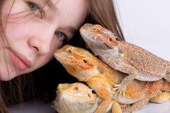 Muchacha con los dragones barbudos Foto de archivo