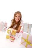 Muchacha con los giftboxes Imagen de archivo libre de regalías