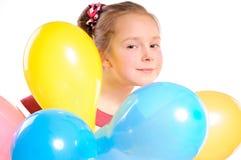 Muchacha con los globos fotos de archivo libres de regalías