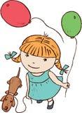 Muchacha con los globos Imagenes de archivo