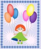 Muchacha con los globos ilustración del vector