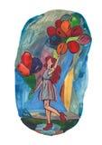 Muchacha con los globos libre illustration
