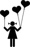 Muchacha con los globos en forma de corazón libre illustration