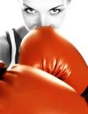 Muchacha con los guantes de boxeo Imágenes de archivo libres de regalías