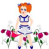 muchacha con los guisantes de olor florecientes Foto de archivo libre de regalías