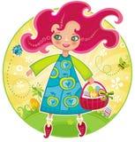 Muchacha con los huevos de Pascua Imagen de archivo