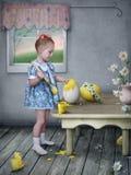 Muchacha con los huevos y los pollos de Pascua. fotografía de archivo
