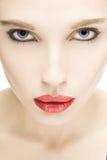 Muchacha con los labios rojos Imagen de archivo