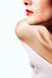 Muchacha con los labios rojos Imagen de archivo libre de regalías