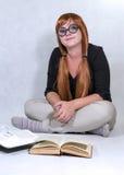 Muchacha con los libros Fotos de archivo