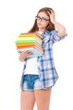 Muchacha con los libros fotos de archivo libres de regalías