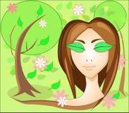 Muchacha con los ojos de las hojas, en el jardín Foto de archivo libre de regalías