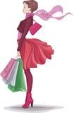 Muchacha con los panieres libre illustration