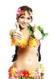 Muchacha con los pulgares hawaianos para arriba Imágenes de archivo libres de regalías
