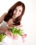 Muchacha con los tulipanes Imágenes de archivo libres de regalías