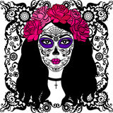 Muchacha con maquillaje del cráneo del azúcar Día mexicano de los muertos Fotos de archivo