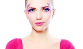 Muchacha con maquillaje hermoso Fotos de archivo