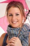 Muchacha con mini cierre del paraguas encima del retrato Imagen de archivo libre de regalías