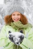 Muchacha con nieve Imagenes de archivo